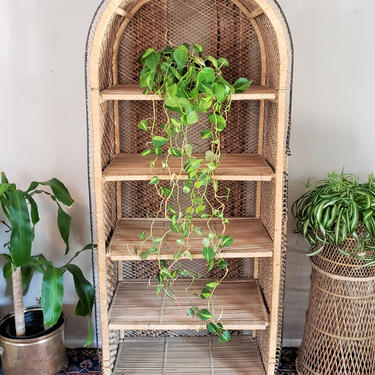 FREE SHIPPING! Vintage Wicker Shelf XL | Boho Arched Rattan Etagere | Mcm Dome Bookshelf | Bohemian Shelving Bookcase by SavageCactusCo