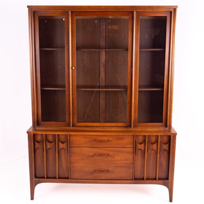 Kent Coffey Perspecta Mid Century Walnut and Rosewood Buffet and Hutch China Cabinet by ModernHill