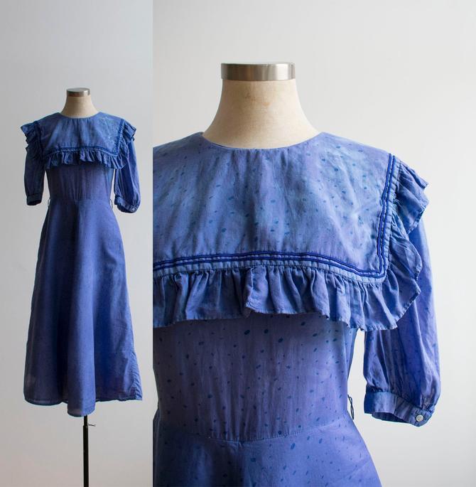 Vintage Cotton Dress / Cotton Polka Dot Dress / Vintage Sailor Dress / Indigo dyed Dress / Hand Dyed Sailor Dress / Ruffle Sailor Dress S by milkandice
