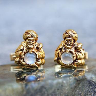 Vintage 14K Yellow Gold Moonstone Fortune Teller Cufflinks, Mid Century Cufflinks, Iridescent Gemstone, 585 Statement Accessory, .25 TCW by shopGoodsVintage