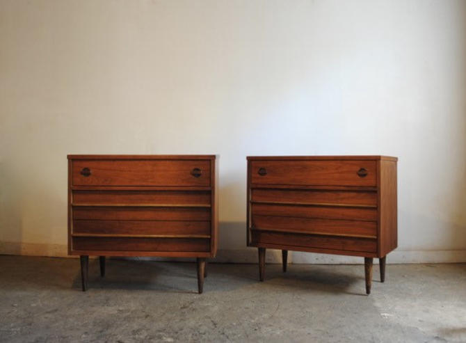 Pair of Mid Century Modern Dressers with Wooden Handles by BigWhaleConsignment