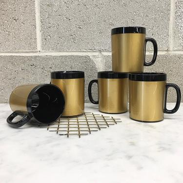 Vintage Mug Set Retro 1960s West Bend + Thermo-Serve + Mid Century Modern + Insulated + Set of 5 + Black and Gold + MCM + Coffee Cups by RetrospectVintage215