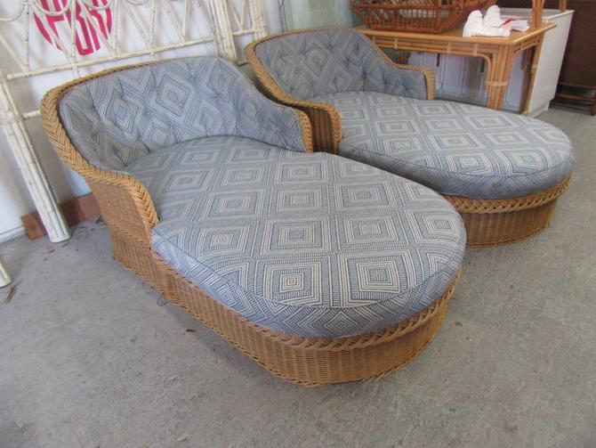 Braided Rattan Chaise Lounges