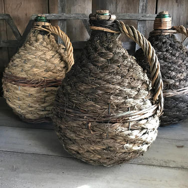 1 19th C French Demijohn Wine Bottle Hand Wrapped Large Wicker Green Glass by JansVintageStuff