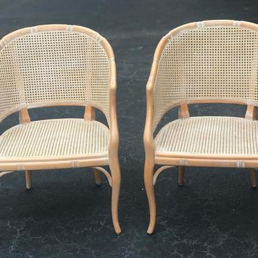 Pair of vintage faux bamboo barrel chairs by HolbrookBazaar