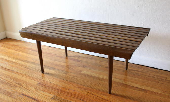 Mid Century Modern Slatted Coffee Table Bench