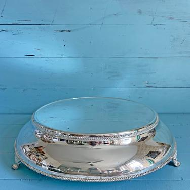 """Vintage 16"""" Large Silver Pedestal Cake Stand // Wedding Cake Stand, Birthday Cake Stand // Rustic, Cottage, Boho Pedestal Silver Food Stand by CuriouslyCuratedShop"""
