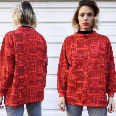 Vintage 80s Croquet Club Cherry Red Black Art Sketch Patterned Long Sleeve Mock Turtleneck Pullover Sweatshirt Sweater M by VernasVintageShop