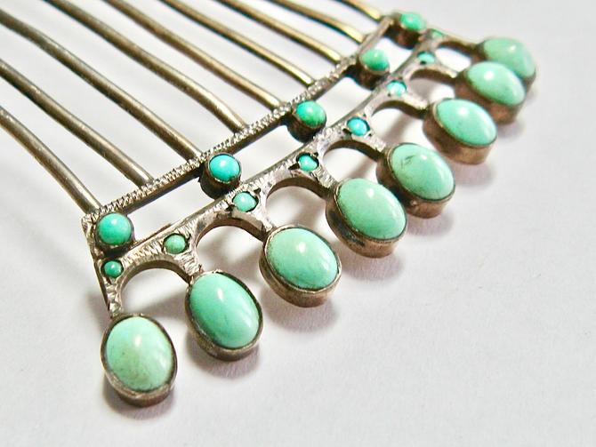 Regency Turquoise Silver Hair Comb, Georgian Hair Comb, Victorian Comb, Antique Comb, Bridal Comb, Hair Jewelry, Reenactor Jewelry by CombAgain