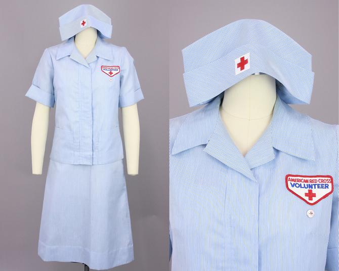 1960s Nurse Outfit | Vintage 60s American Red Cross Dress Set with Blouse & Hat | medium by RelicVintageSF