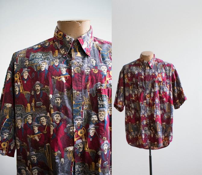 Vintage All Over Print Button Down / Dodge City Cowboy Band Scene Shirt / Vintage Soldier Print Shirt  / Mens Large Shirt / Early American by milkandice