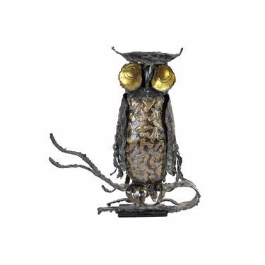 Vintage Brutalist Owl Metal Sculpture Sgnd Pascoe Mid Century Modern Jere Era by PrairielandArt