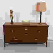 Mid Century Modern Compact Walnut Sideboard / Dresser