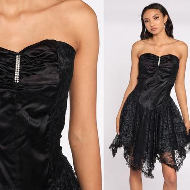 Black Lace Dress 80s STRAPLESS Prom Dress Black Satin Mini Dress Rhinestone High Low Hem Party Formal Dress Vintage Goth Small by ShopExile