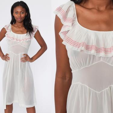 Lingerie Slip Dress 70s Midi Boho White Sheer Nightgown FLUTTER SLEEVE Nylon Empire Waist Vintage 1970s Bohemian Romantic Long Medium by ShopExile