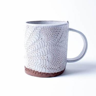 Boheme Lace Mug, ceramic mug, coffee mug, tea mug, stoneware mug, white by TagliaferroCeramics