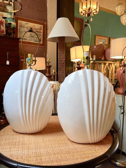 Silverlake Seashore | Pair of 1980s Modern Ceramic Lamps