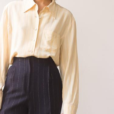 1980s Buttercup Pinstriped Silk Blouse by waywardcollection