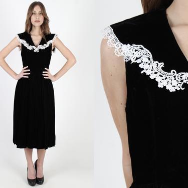 80s Black Velvet Gunne Sax Dress Vintage 1980s White Crochet Lace Collar Jessica McClintock Prom Formal Dance Cocktail Mini Dress by americanarchive