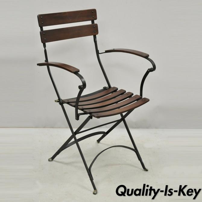 Vintage Wrought Iron Wood Slat Cafe Bistro Steam Ship Deck Folding Arm Chair