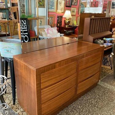 """Mid century 9 drawer dresser with large beveled edge mirror!  60"""" x 22"""" x 35"""" dresser, mirror is 50"""" x 32"""""""