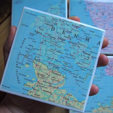 1967 Denmark Handmade Vintage Map Coasters - Ceramic Tile Coasters Set of 4 - Repurposed 1960s Rand McNally Atlas - Copenhagen - Europe by allmappedout