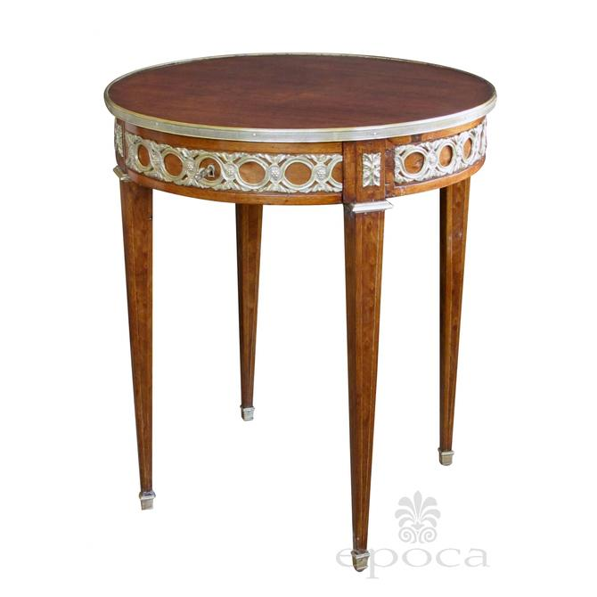 an elegant french louis xvi style mahogany circular side table with brass mounts