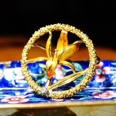 "Vintage 18K Yellow Gold Enamel Flower & Accent Diamond Brooch, .06 CT Brilliant Diamond, Popcorn Textured Gold Circle Pin, 1 1/2"" Diameter by shopGoodsVintage"