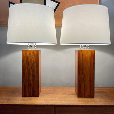 Pair of Mid Century Rosewood Table Lamps