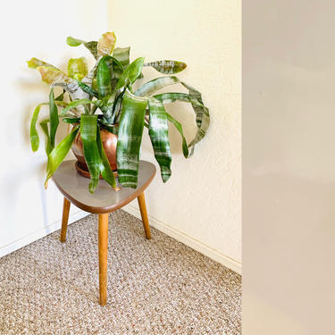 Vintage Plant Table, 50s Side Table, Mid Century Plant Stand, Vintage Planter, Space Age Tripod Table, Atomic Table, Vintage Collage Table by dadacat