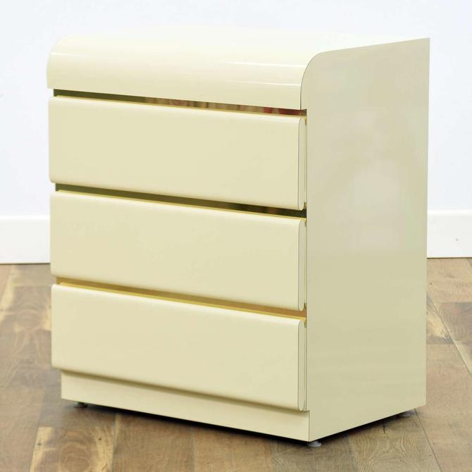 1980'S Ivory Deco Revival Nightstand