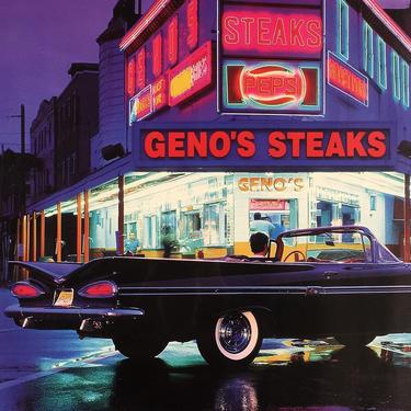 LOCAL PICKUP ONLY ———— Vintage Genos Steaks Poster by RetrospectVintage215