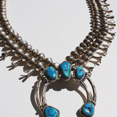 Vintage Navajo Squash Blossom Necklace Signed Sterling Silver and Turquoise by MamaTequilasVintage
