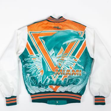90s Miami Dolphins NFL Chalk Line Jacket - Men's Medium, Women's Large   Vintage Pro Football Striped Trim Windbreaker Bomber Coat by FlyingAppleVintage
