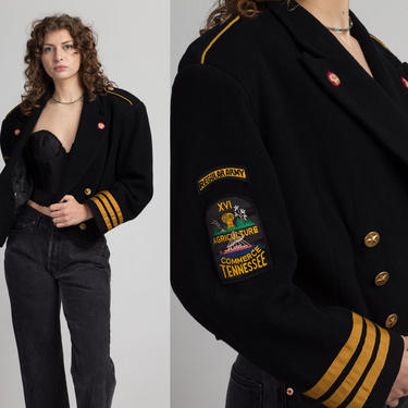 90s The Limited Cropped Wool Military Coat - Large | Vintage Women's Black Yellow Striped Button Up Patch Jacket by FlyingAppleVintage