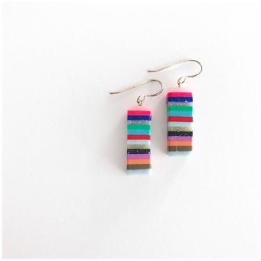 Striped rectangles  handmade polymer clay earrings with sterling silver wire by ChrisBergmanDesign