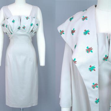 1960s Embroidered Dress Set   Vintage 60s Linen Dress & Coat with Green and Brown Leaf Embroidery   medium by RelicVintageSF
