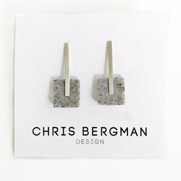 ELIA earrings - sterling silver bar and polymer clay square by ChrisBergmanDesign