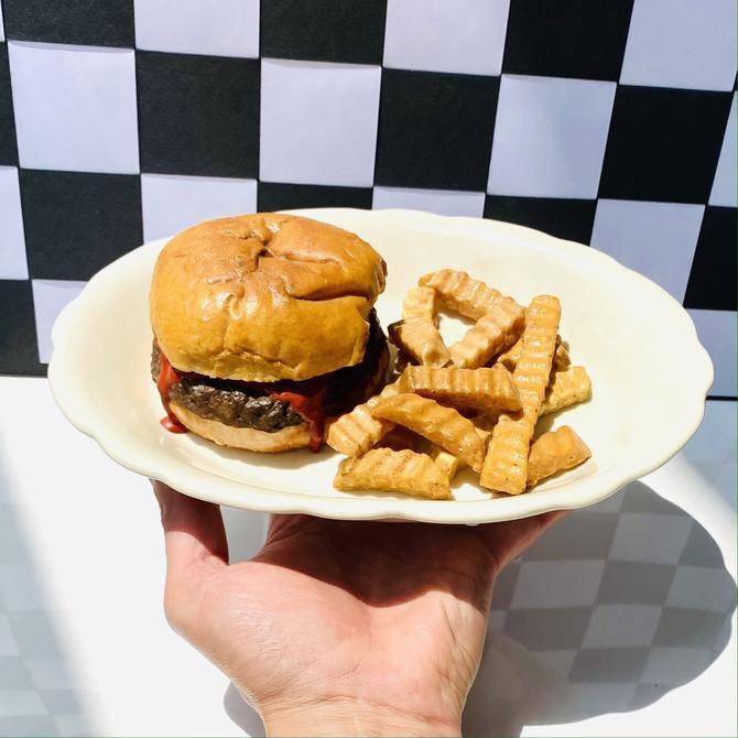 Vintage Fake Burger & Fries Plate