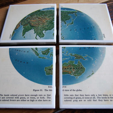 1930 Asia and Australasia Globe View Repurposed Vintage Textbook Coasters - Ceramic Tile Set of 4 - Repurposed 1930s Geography Textbook by allmappedout