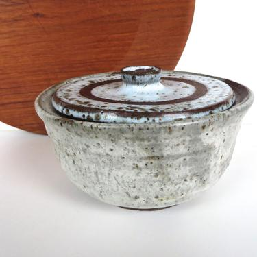 Mid Century Studio Pottery Lidded Dish, Hand Thrown Covered Pottery Bowl With Frothy Glaze, Vintage Wabi Sabi Pottery Gift by HerVintageCrush