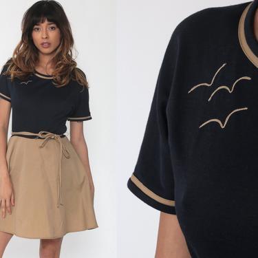 70s Mini Dress BIRD Print Black Mod Dress High Waisted Boho Tan Toni Todd Dress Vintage Short Sleeve 1970s Minidress Gogo Small by ShopExile