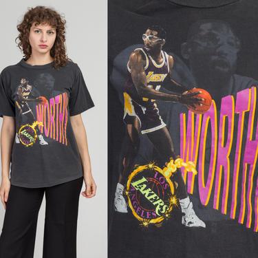 "Vintage Magic Johnson ""Worthy"" LA Lakers Shirt - Medium   80s 90s NBA Basketball Black Graphic Sports Tee by FlyingAppleVintage"