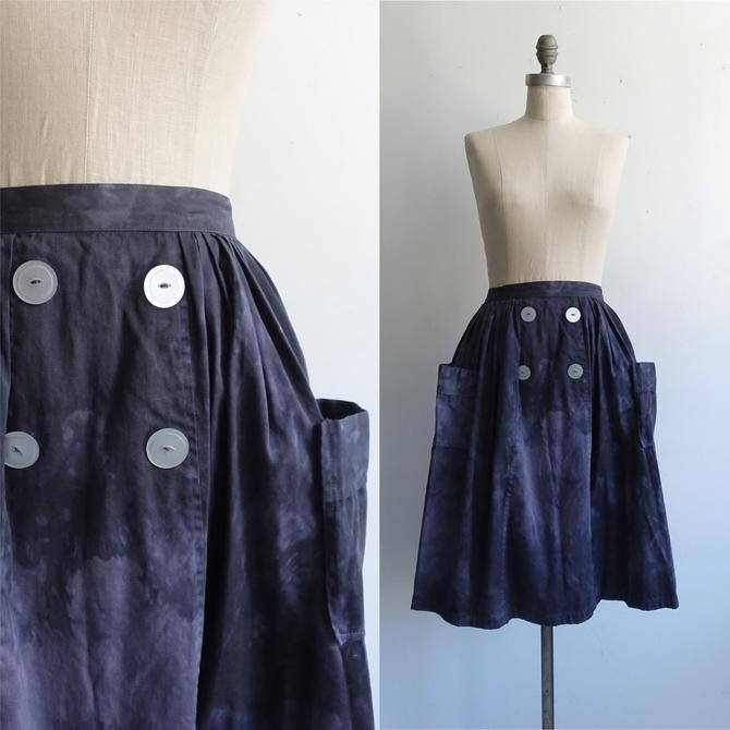 Vintage 50s Overdyed Full Skirt with 3D Pockets/ 1950s Cotton Navy Blue Skirt/ Size XXS 22 23 by bottleofbread