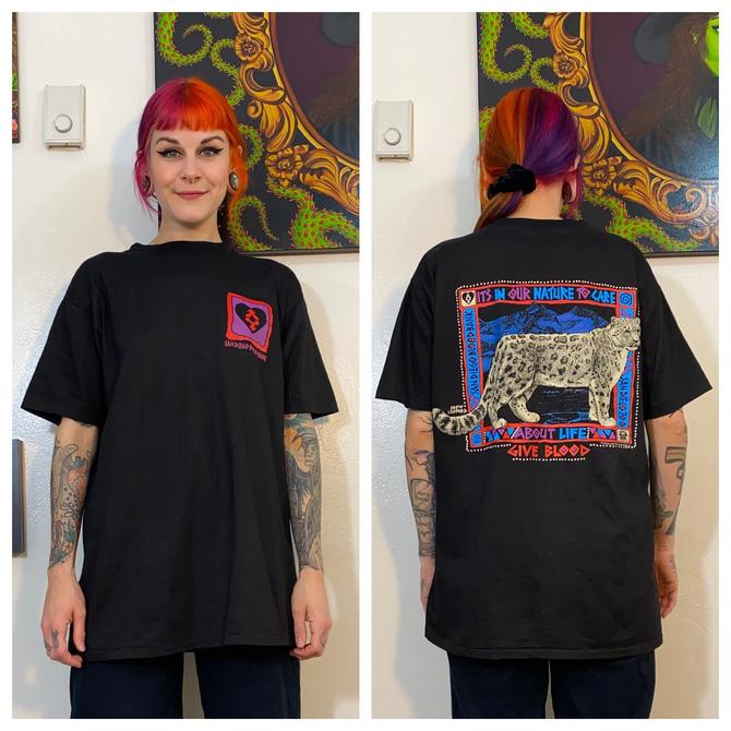 Vintage 1990's Black Blood Bank Tee with Leopard by SurrealistVintage