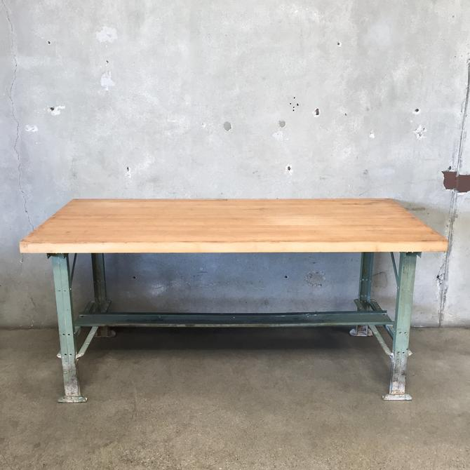 Vintage Industrial Workbench with Butcher Block Top