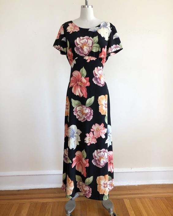 Black Floral Print Maxi Dress - 1990s by LogansClothing