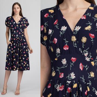 90s Navy Blue Floral Midi Pocket Dress - Medium | Vintage Grunge Short Sleeve Button Back Fitted Waist Dress by FlyingAppleVintage