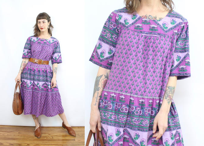 Vintage 70's inspired Purple Indian Cotton Style Dress / 1990's Tent Dress / Prairie Dress / Women's Size Medium Large by RubyThreadsVintage