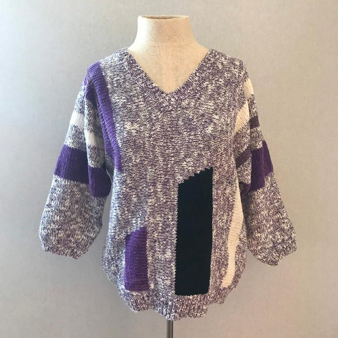 Vintage 80s Purple and Black Color Block Sweater by citybone